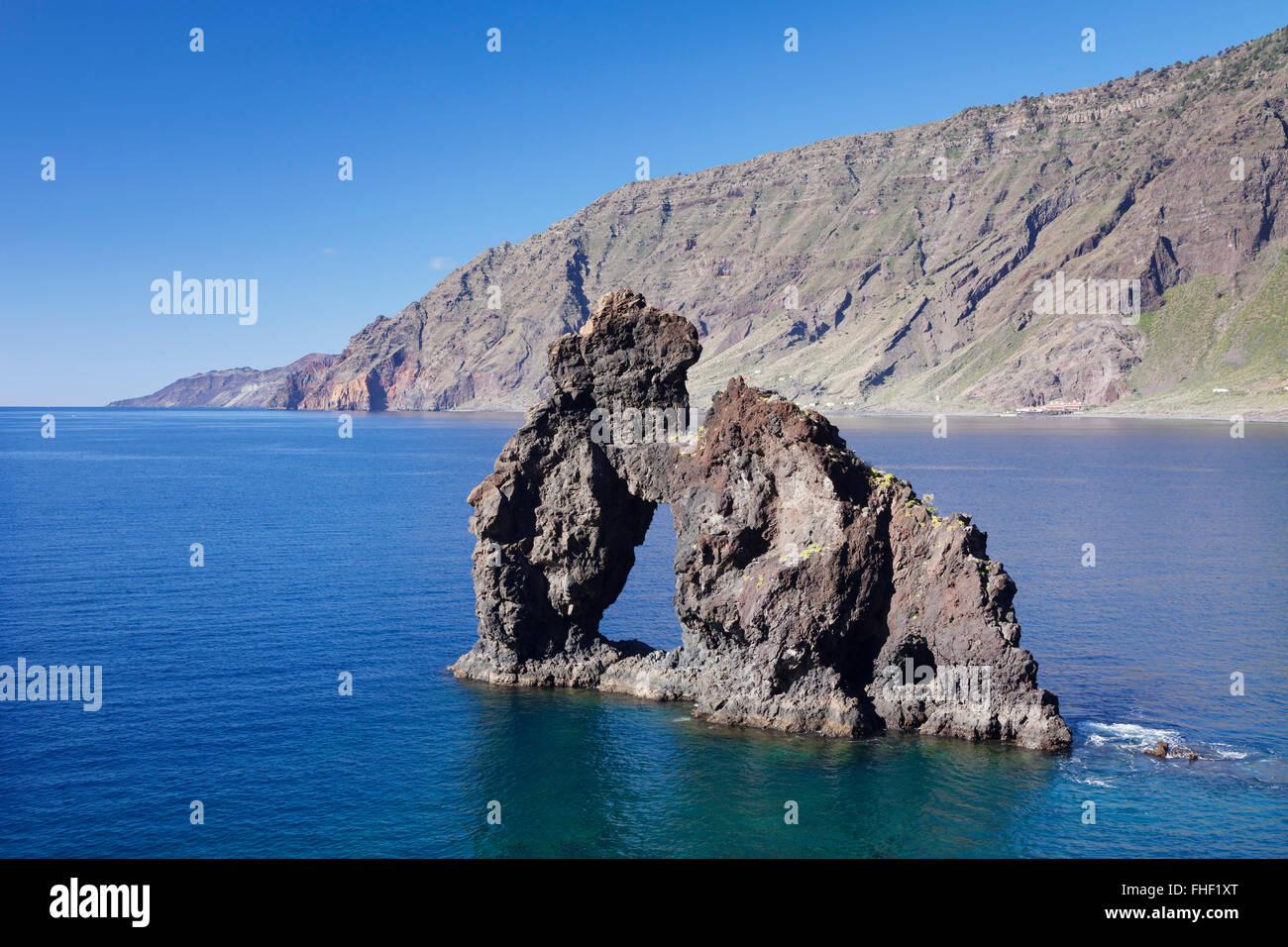 Las Playas Bay with the Roque de Bonanza rock arch, El Hierro, Canary Islands, Spain Stock Photo