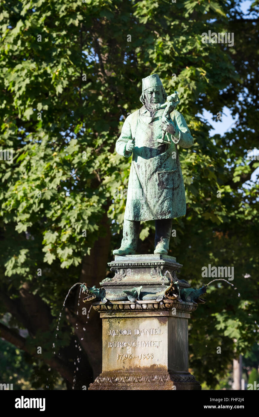 Statue of Jacob Daniel Burgschmiet, sculptor, Burgschmietbrunnen, St. Johannis district, Nuremberg, Middle Franconia, - Stock Image