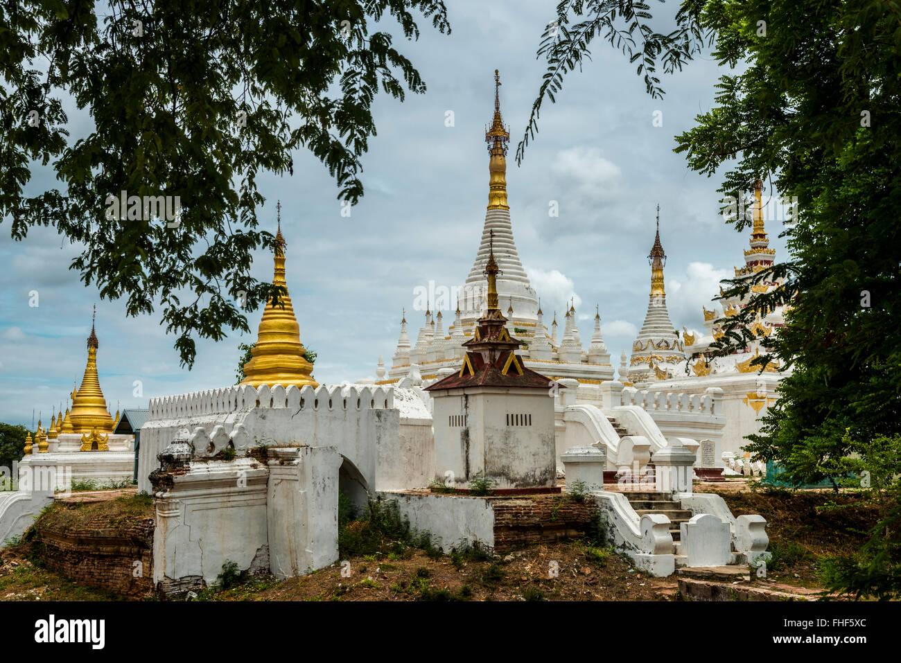 Pagodas, Ancient City Inwa or Ava, Mandalay Division, Myanmar, Burma - Stock Image