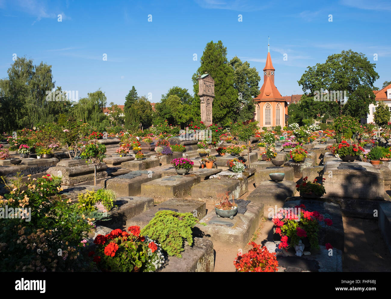 Old graves at the St. Johannis cemetery with St. John's Church, St. Johannis district, Nuremberg, Middle Franconia, - Stock Image