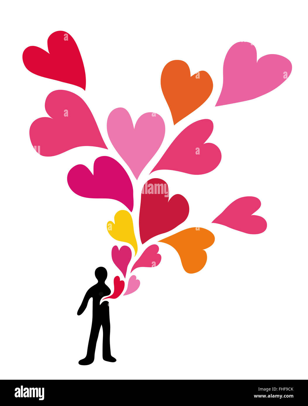 Love. Hearts flowing from human chest. - Stock Image