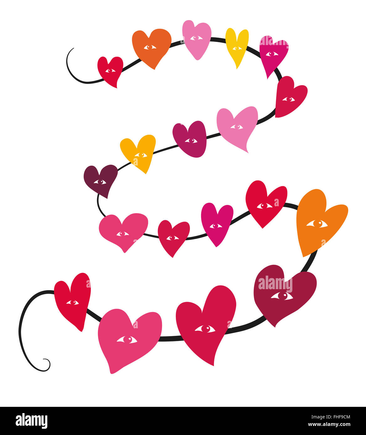 Togetherness, hearts on a string Stock Photo