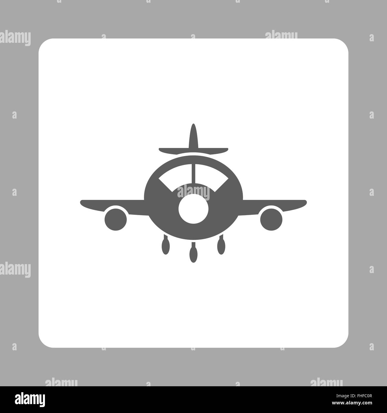 Plane Rounded Square Button - Stock Image