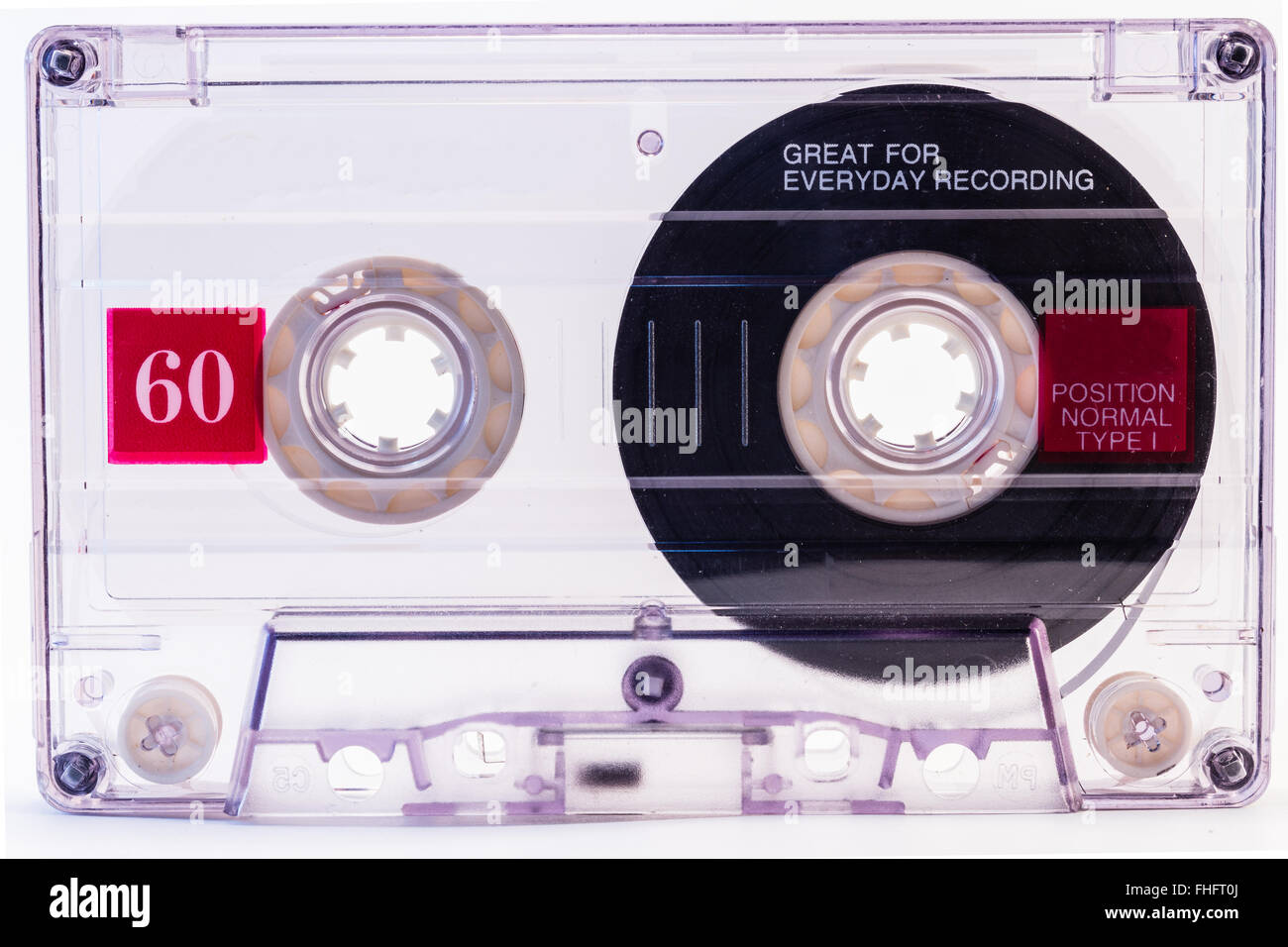 Cassette Tape. Retro audio cassette isolated on white background. - Stock Image