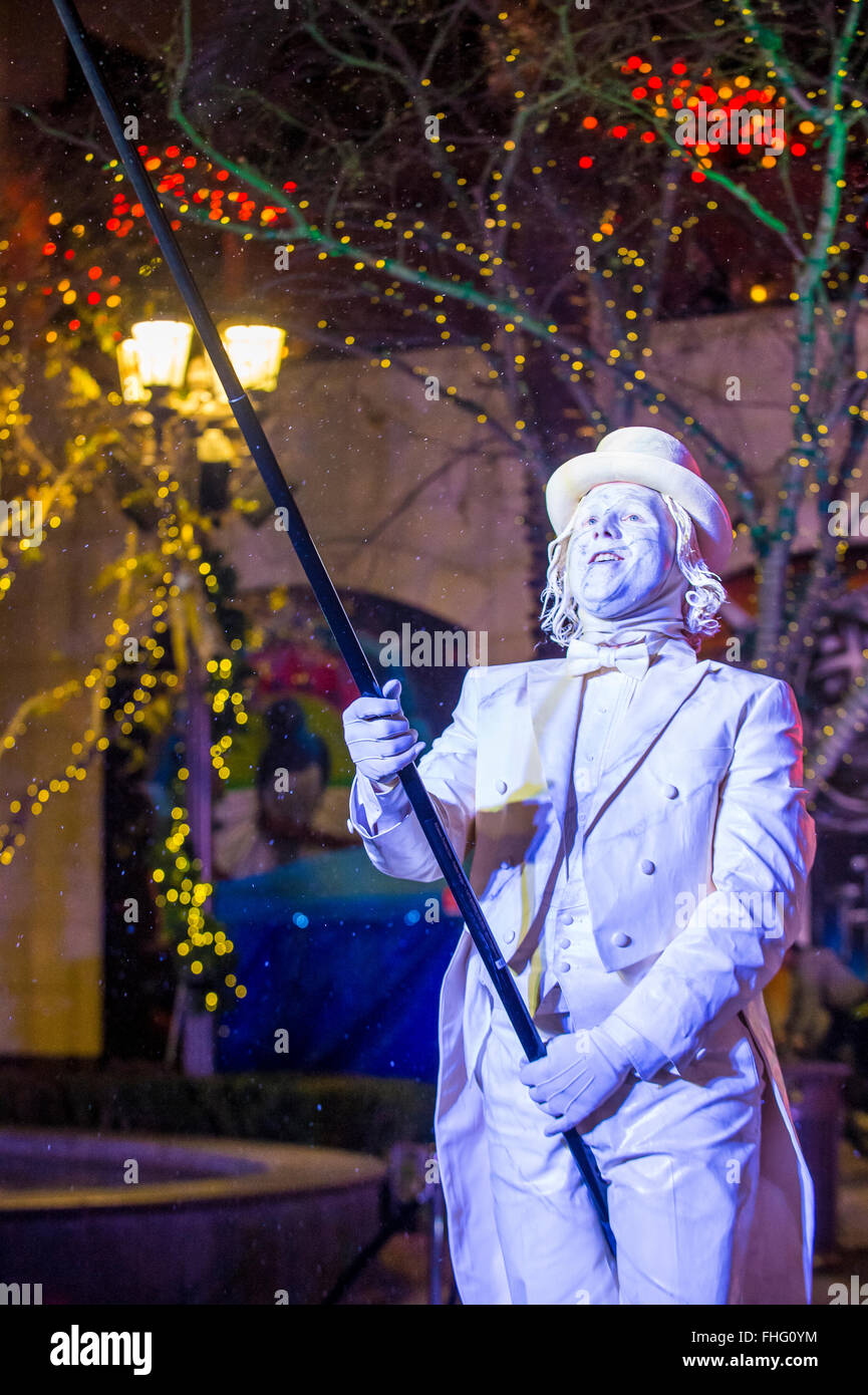 Actor in the Winter Parq Show at the Linq in Las Vegas Stock Photo