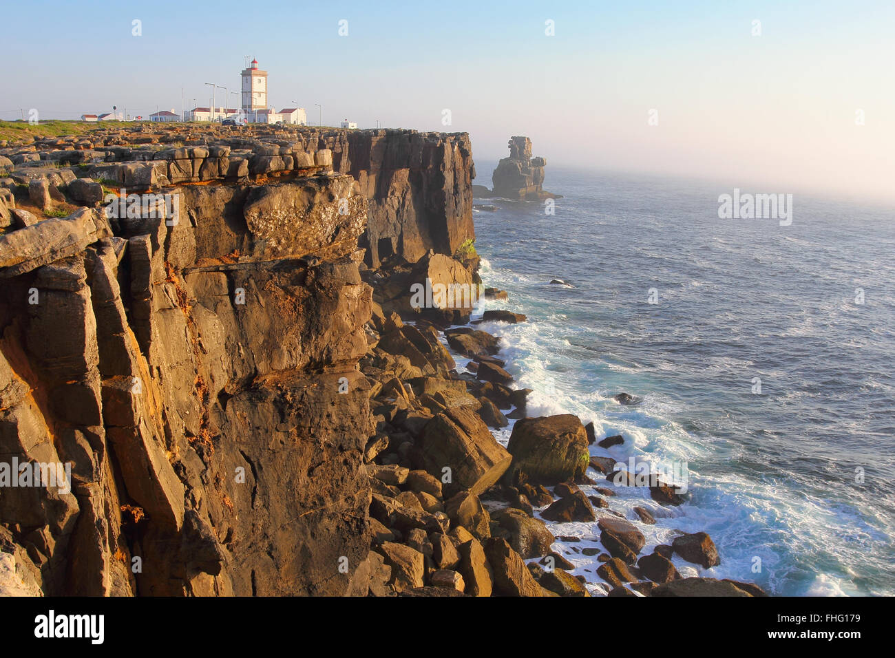 Cabo Carvoeiro in south Portugal . Sunset light and sea mist Stock Photo