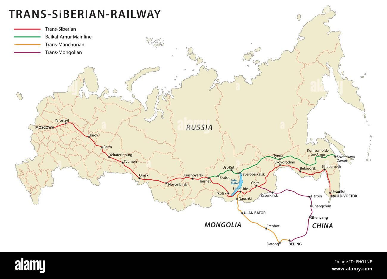 Trans-siberian-railway map - Stock Image