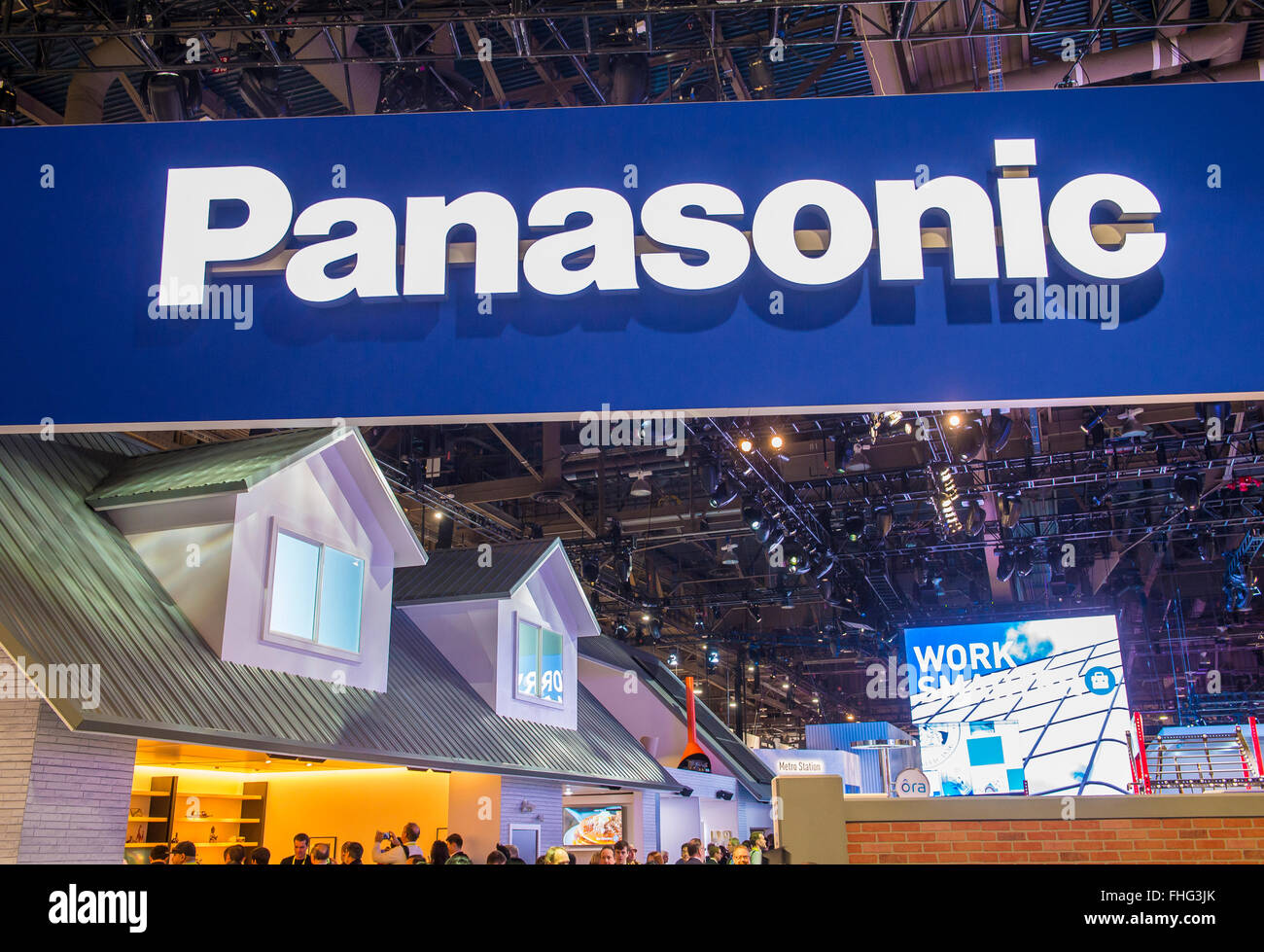 The Panasonic booth at the CES show in Las Vegas - Stock Image