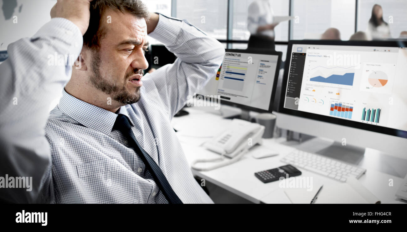 Businessman Stressful Finance Business Problem Concept - Stock Image