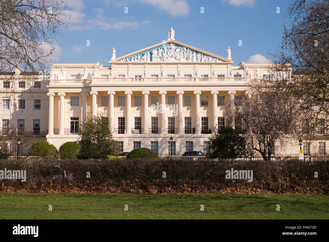 Exterior view of Cumberland Terrace designed by John Nash in winter London Stock Photo