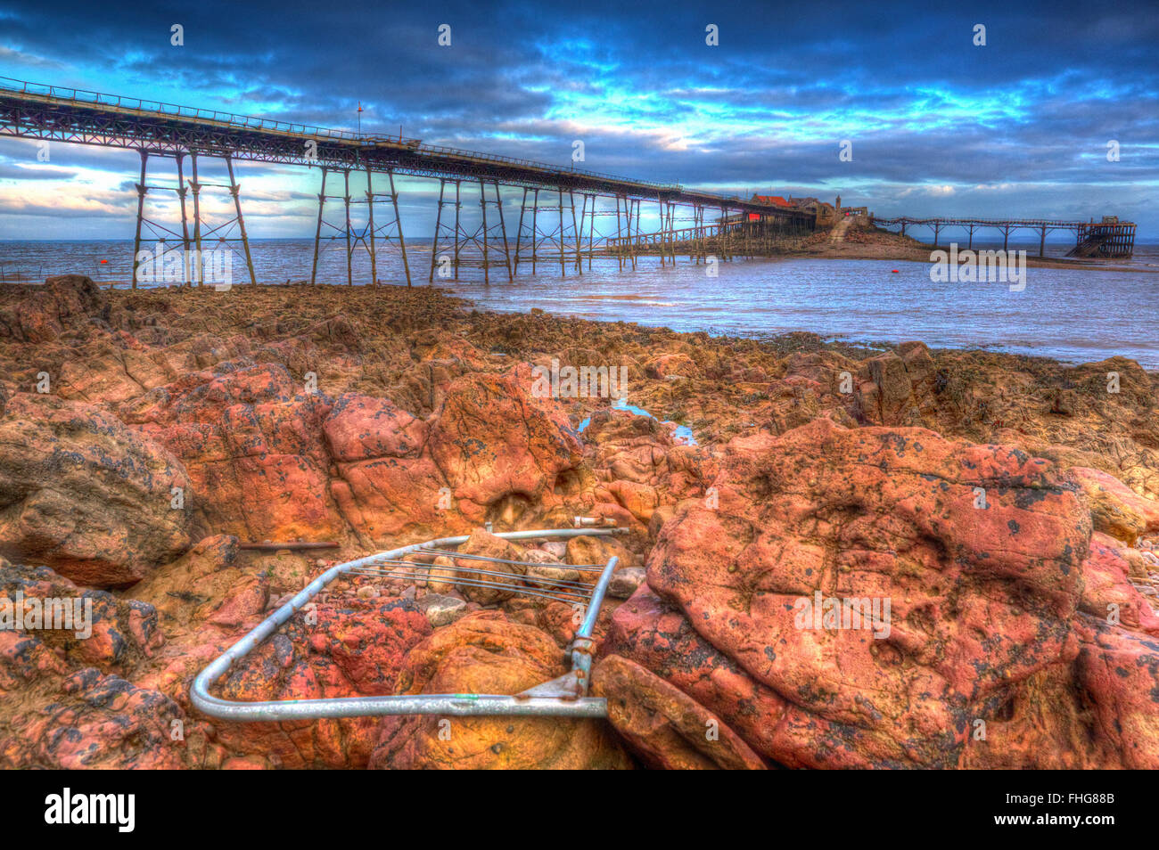 Birnbeck island pier Weston-super-Mare Somerset England in colourful HDR with broken debris - Stock Image