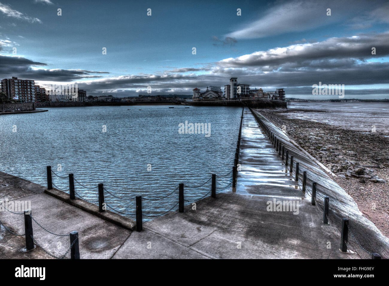Knightstone island and Marine Lake Weston-super-Mare Somerset England uk in unique different HDR - Stock Image