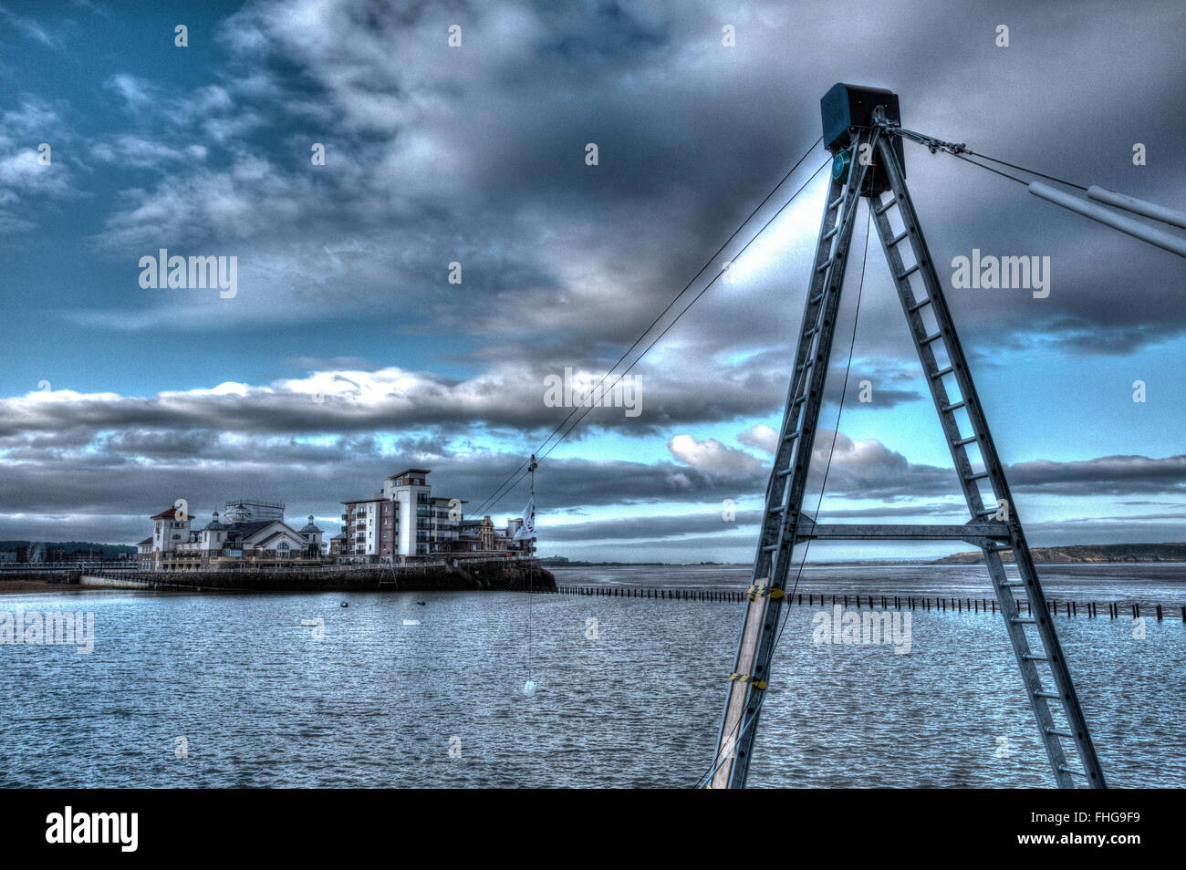 Knightstone island and Marine Lake Weston-super-Mare Somerset England uk with zip wire in HDR - Stock Image