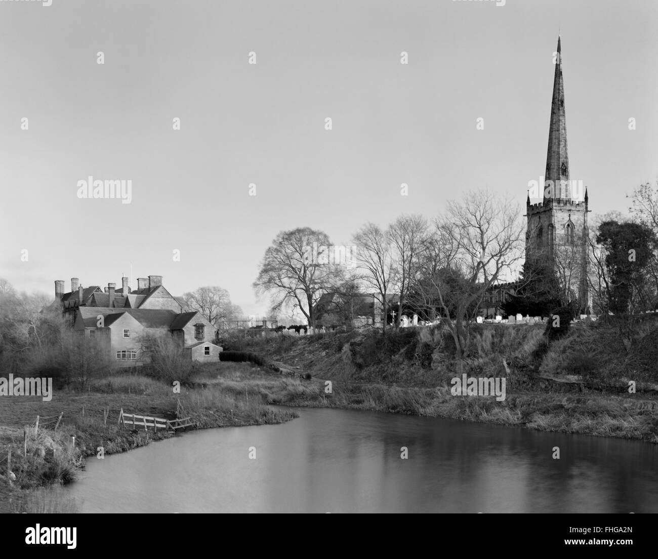 St Wystan's Church, Repton, Derbyshire, looking ESE at old course & S bank of River Trent: the great Viking - Stock Image