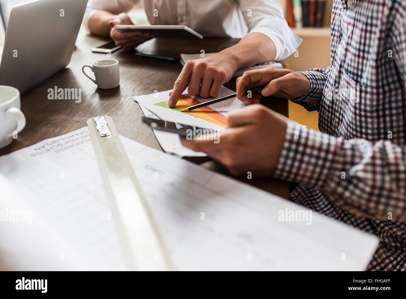 Computer Diagram Stock Photos Images Alamy Glass On The Electronic Schematic Diagramideal Technology Background Colleagues At Desk With Smartphone And Construction Plan Image