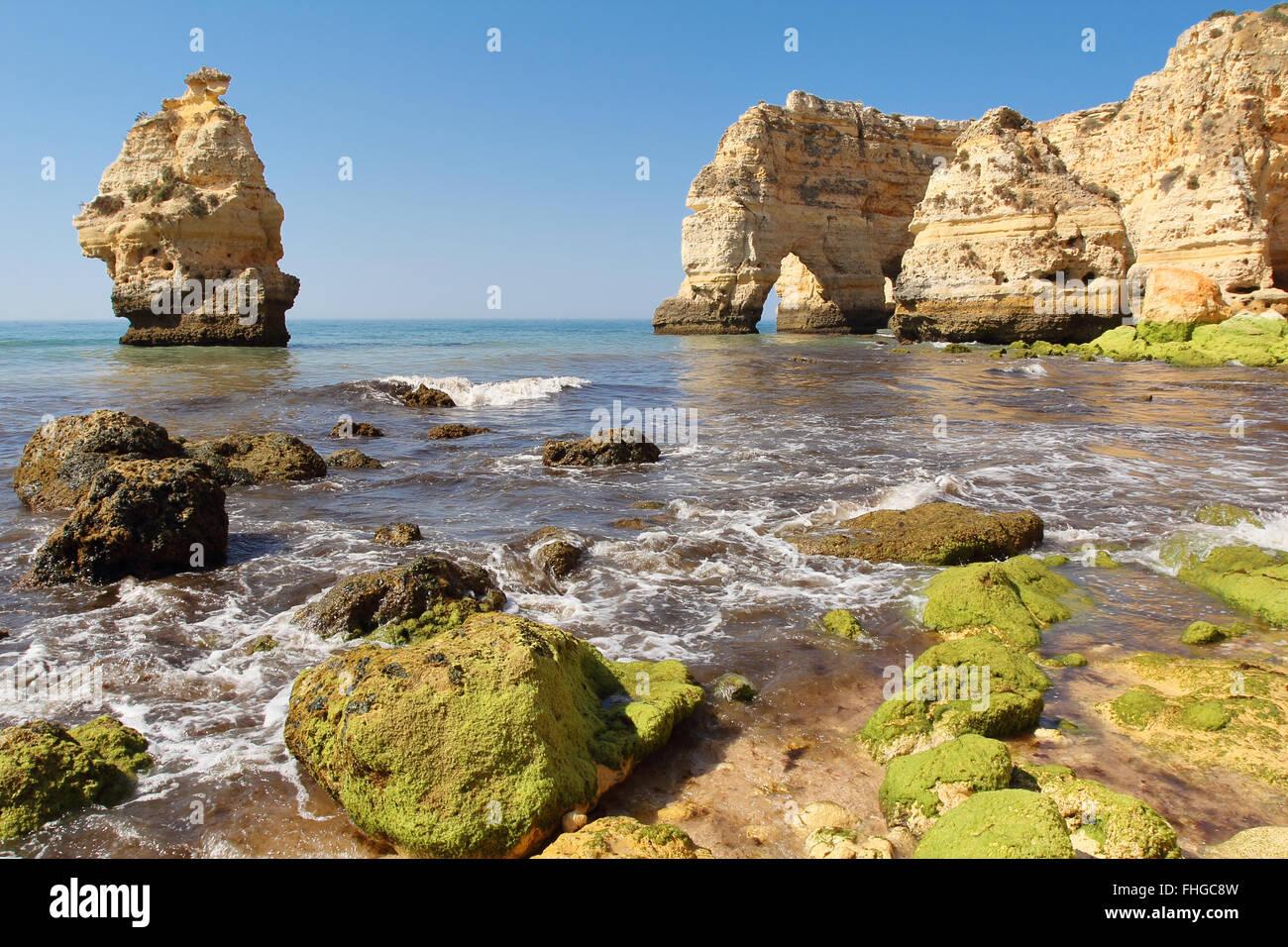 Beautiful Praia da marinha in Algarve . South Portugal Stock Photo