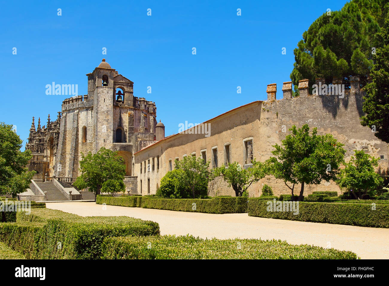 Templar knights castle of Tomar . Portugal - Stock Image