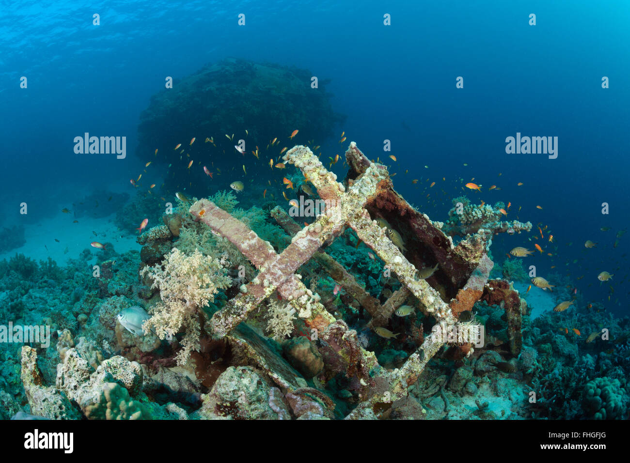 Remains of Cousteaus Underwater Habitat Precontinent II, Shaab Rumi, Red Sea, Sudan - Stock Image