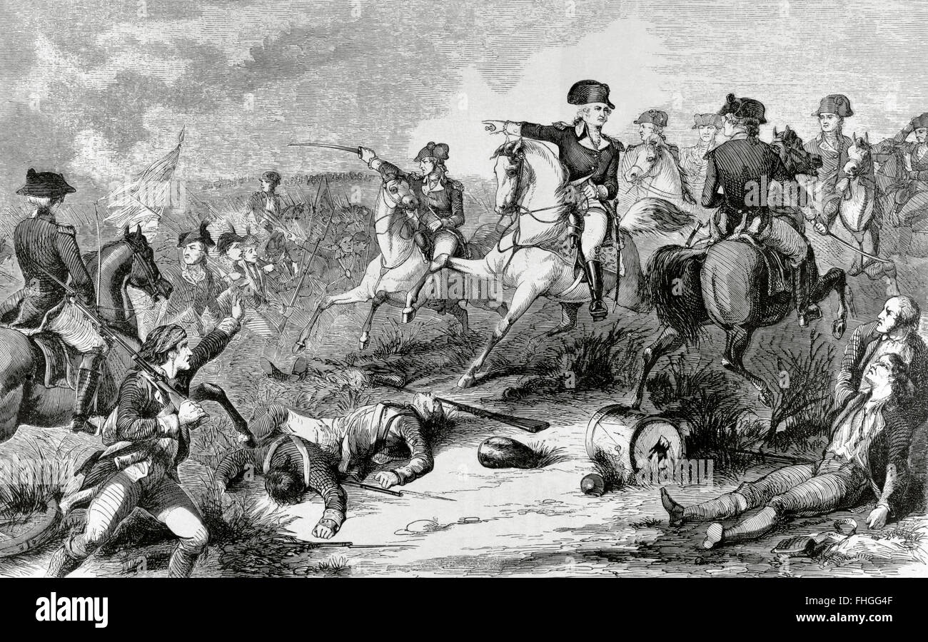 Battle of Monmouth (June 28, 1778). George Washington (1732-1799),  commander-in-Chief of the Continental Army, attacking the rear of the  British Army led by ...