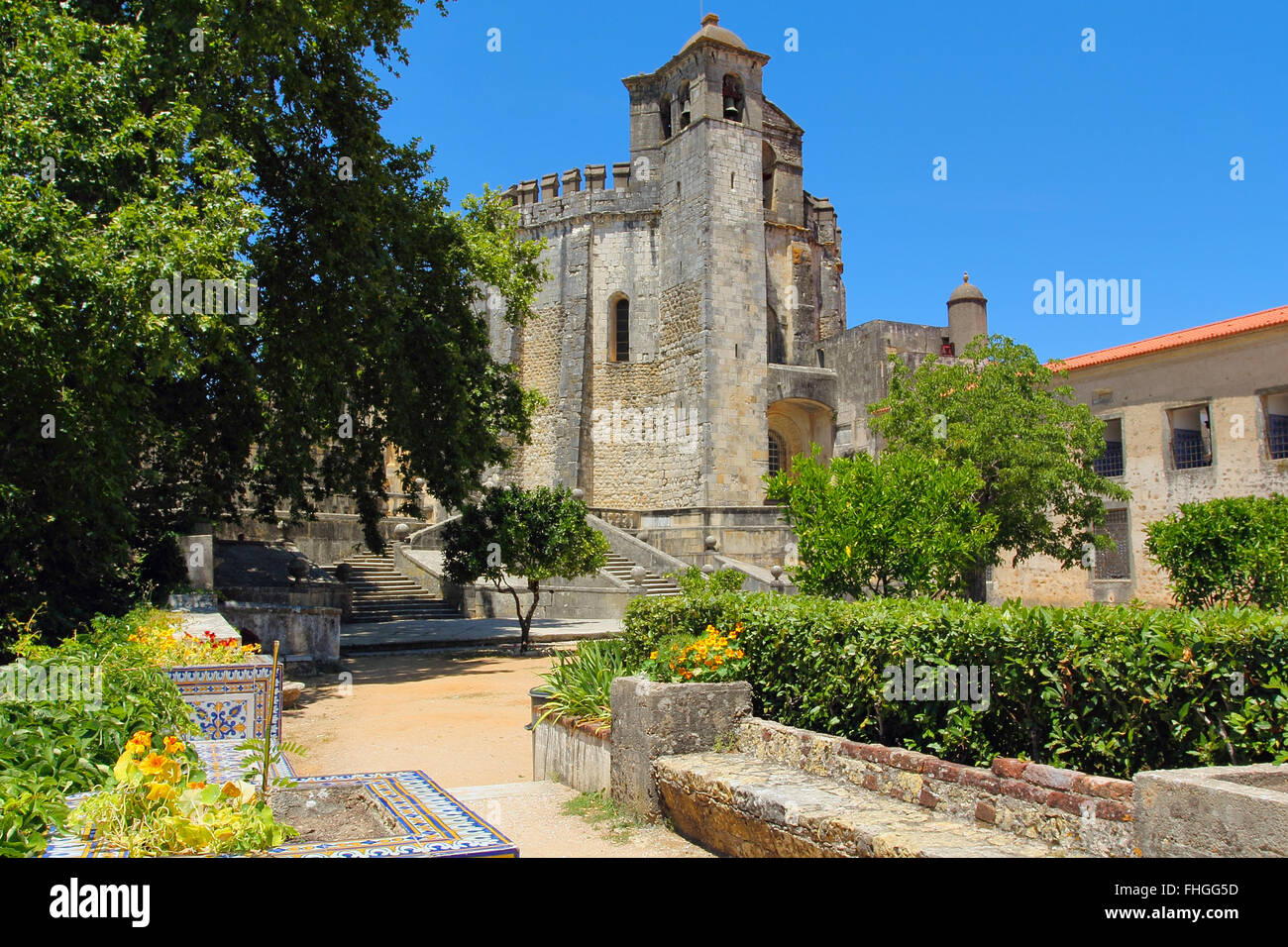Tomar Templar knights fortress from the garden . Portugal - Stock Image