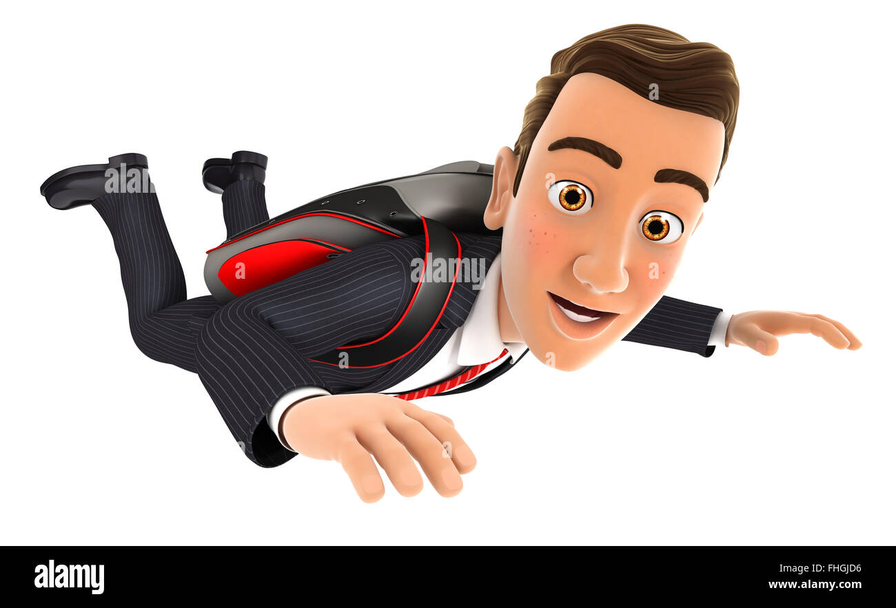 3d businessman jumping with a parachute, isolated white background Stock Photo