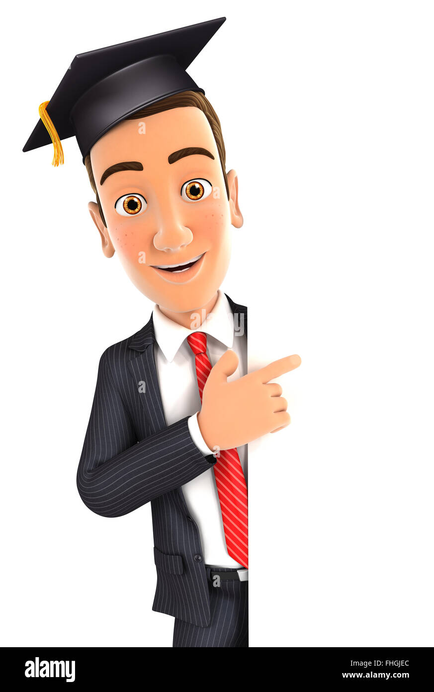 3d businessman with mortarboard pointing to right blank wall, isolated white background Stock Photo