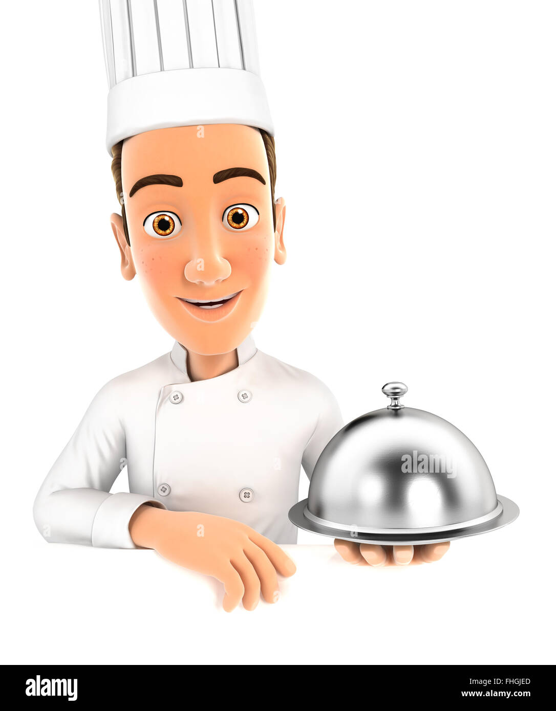 3d head chef holding restaurant cloche, isolated white background Stock Photo