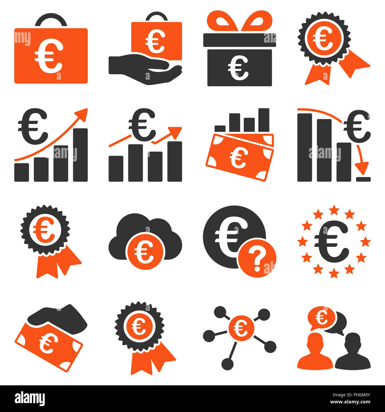 Euro banking business and service tools icons - Stock Image