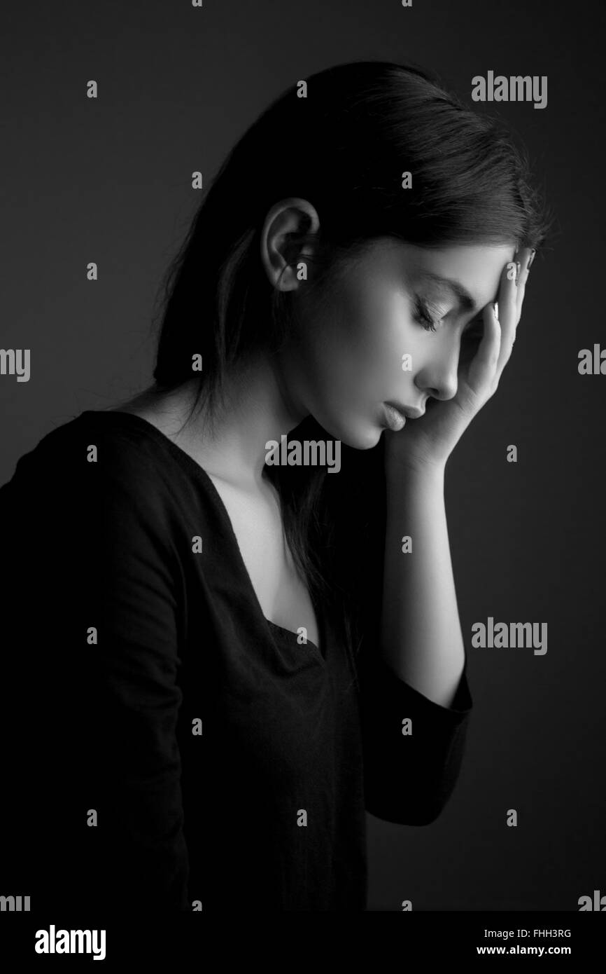 Depression concept – sad teen woman Stock Photo