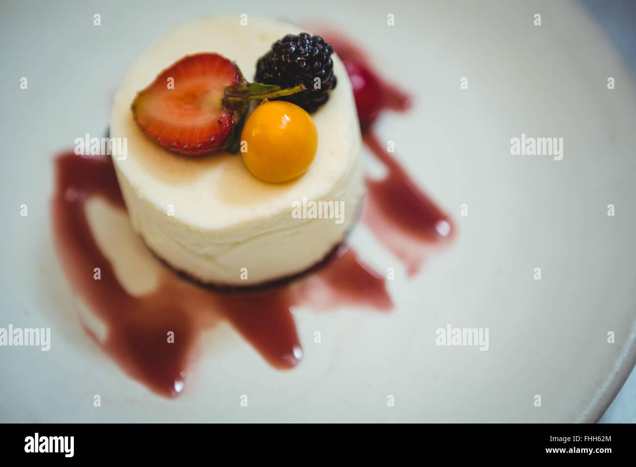 Close up of cheesecake dessert - Stock Image