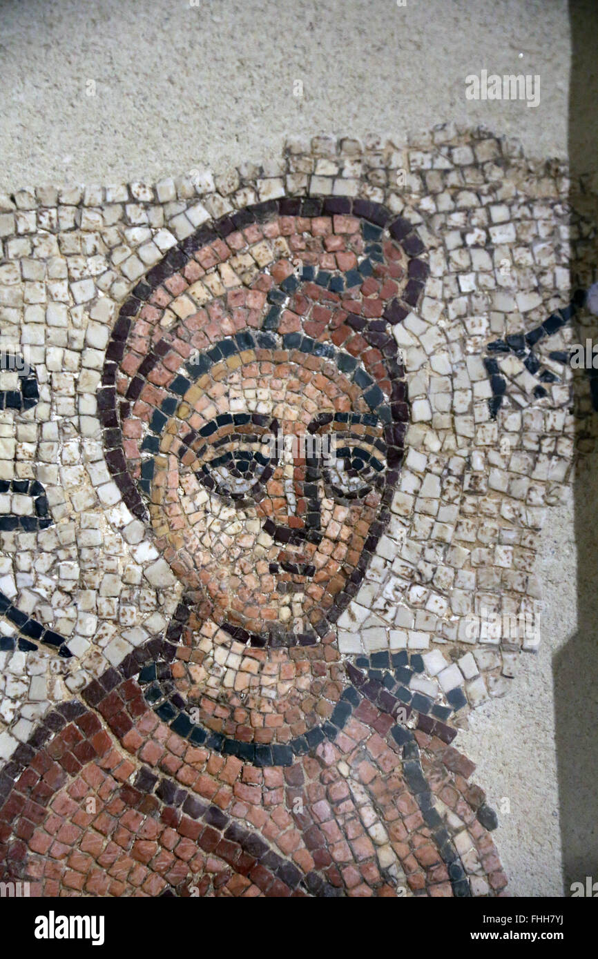 Eastern Mediterranean. Roman period. Funerary mosaics. Portrait. Woman's head. 3rd AD. Family portraits adorned - Stock Image