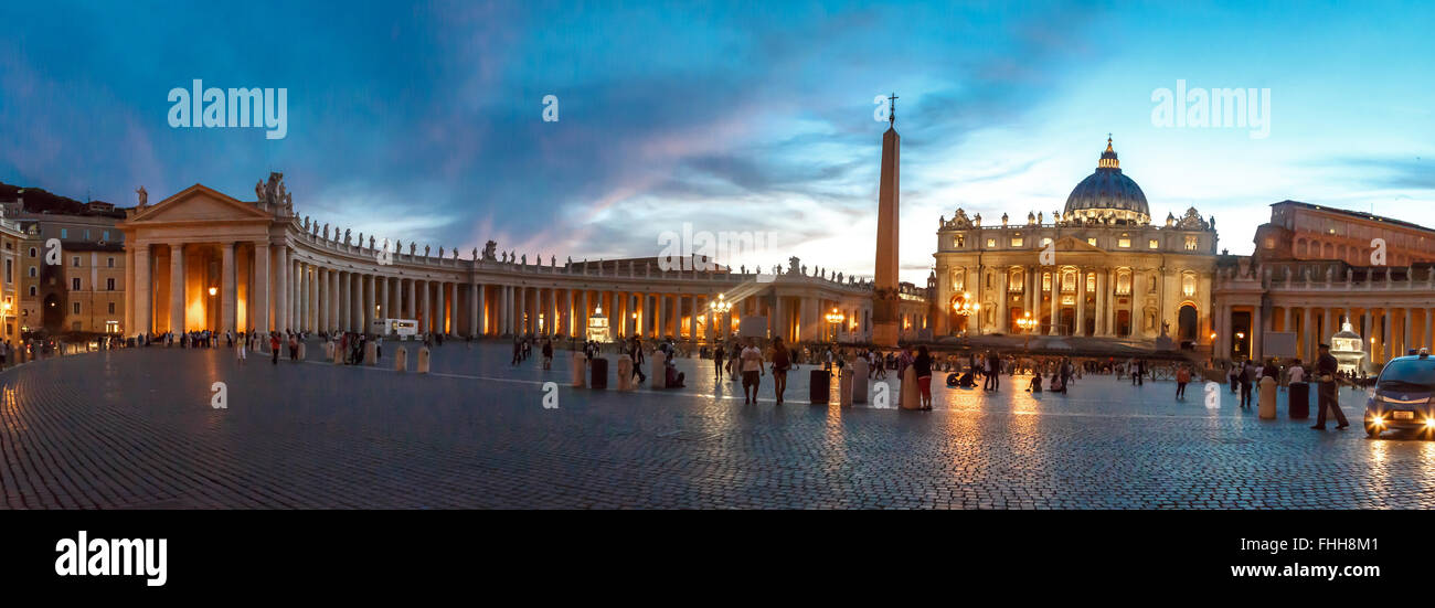 ROME, ITALY - SEPTEMBER 23, 2015 : Front view of St Peter's Basilica in Vatican with people around, on cloudy - Stock Image