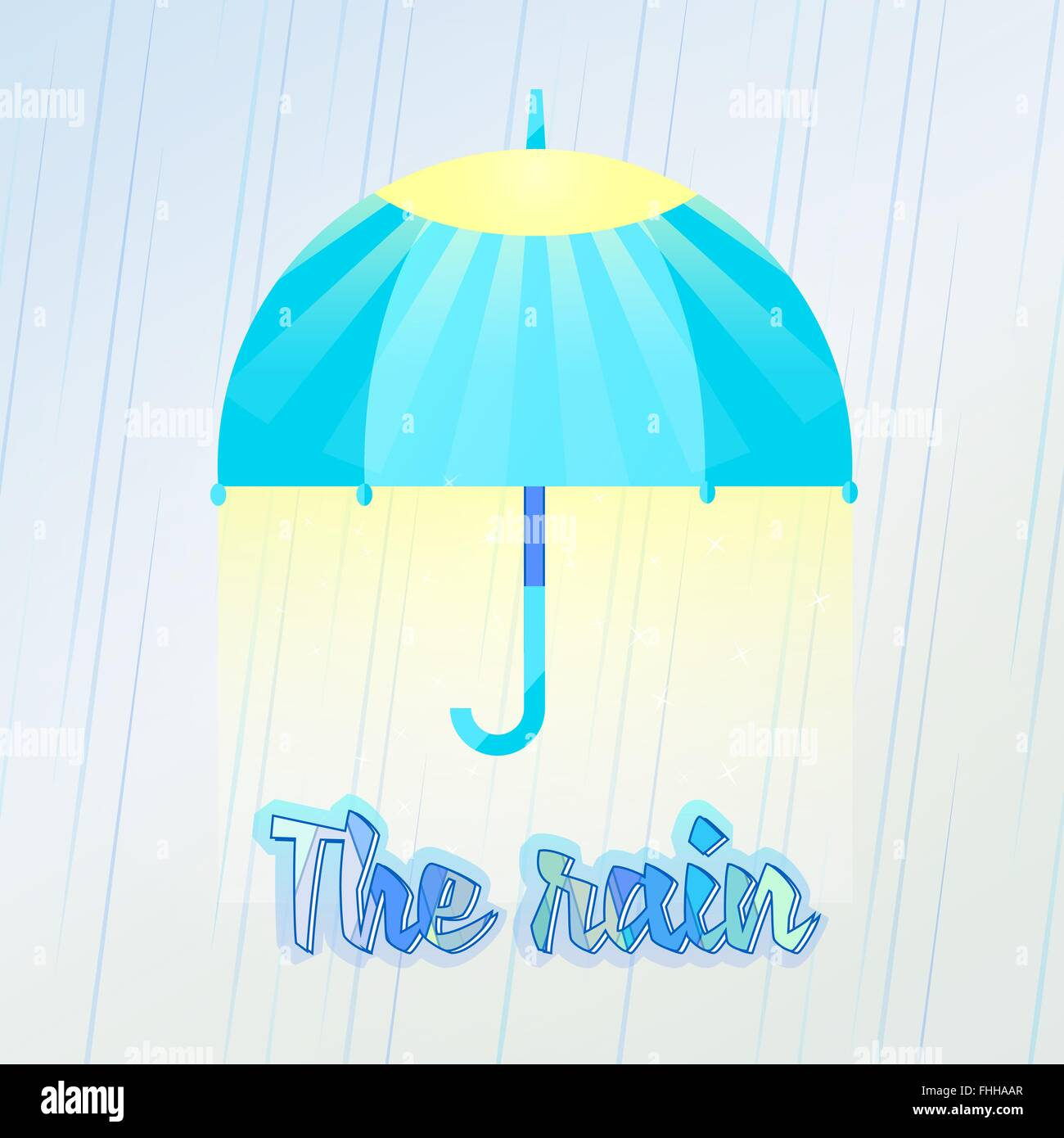 To walk under the great umbrella, love rain. Vector illustration of umbrella in the rain. The umbrella with the - Stock Image