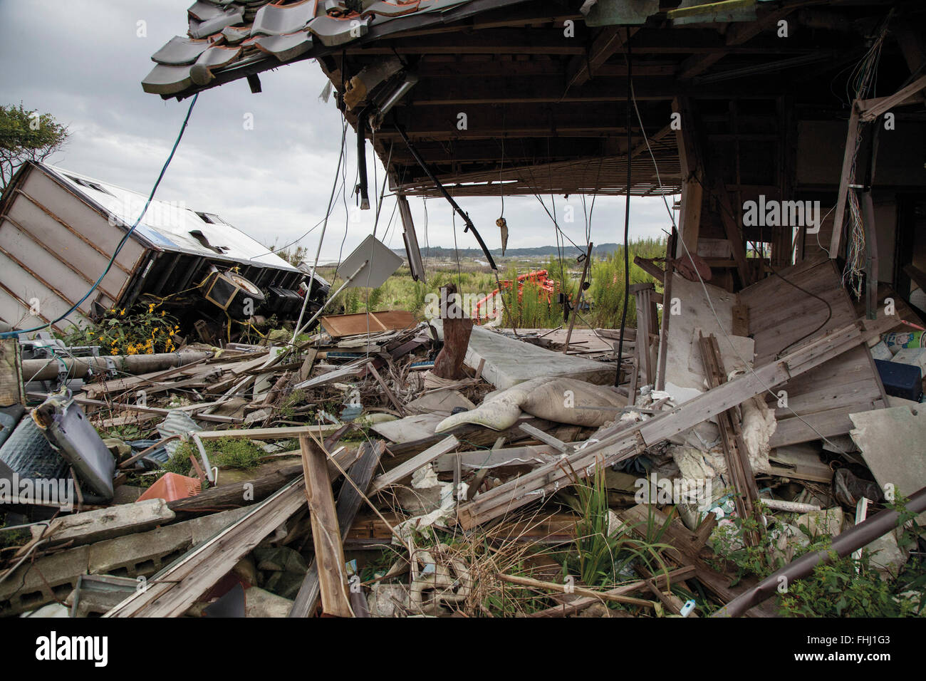 Japan / Fukushima  -  Odaka-ku has remained as same situation as the disaster day until the government rezoned the - Stock Image