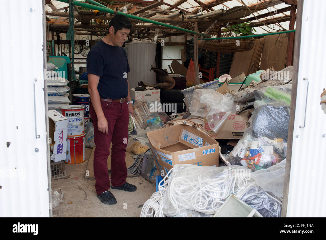 The Fukushima samurais -  Japan / Fukushima  -  The all trash from the decontaminated area are not allowed to be - Stock Image