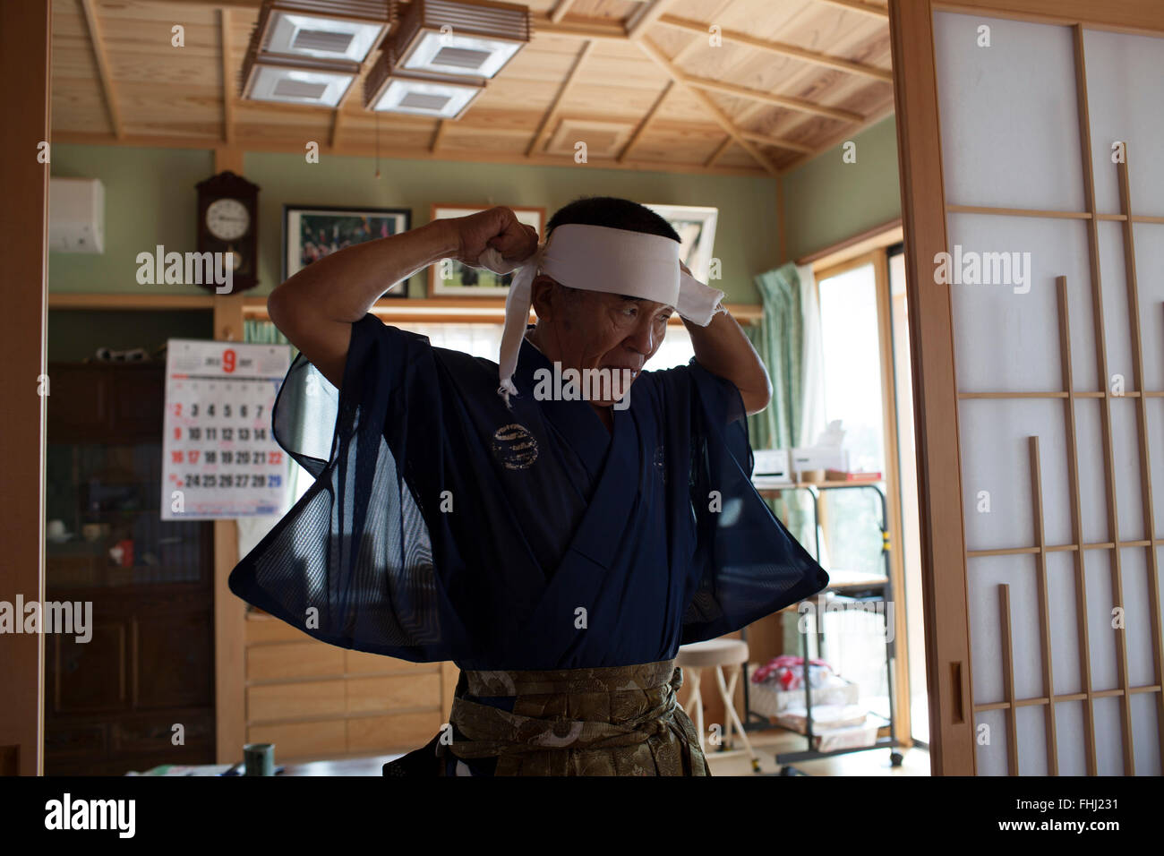 The Fukushima samurais -  Japan / Fukushima  -  Nomaoi man wearing his Hachimaki headband. - Stock Image
