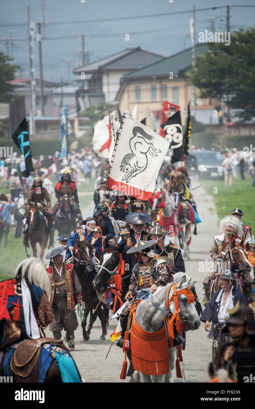 Japan / Fukushima  -  In 2011, 82 samurai managed to join the march even though it was only three months after the - Stock Image