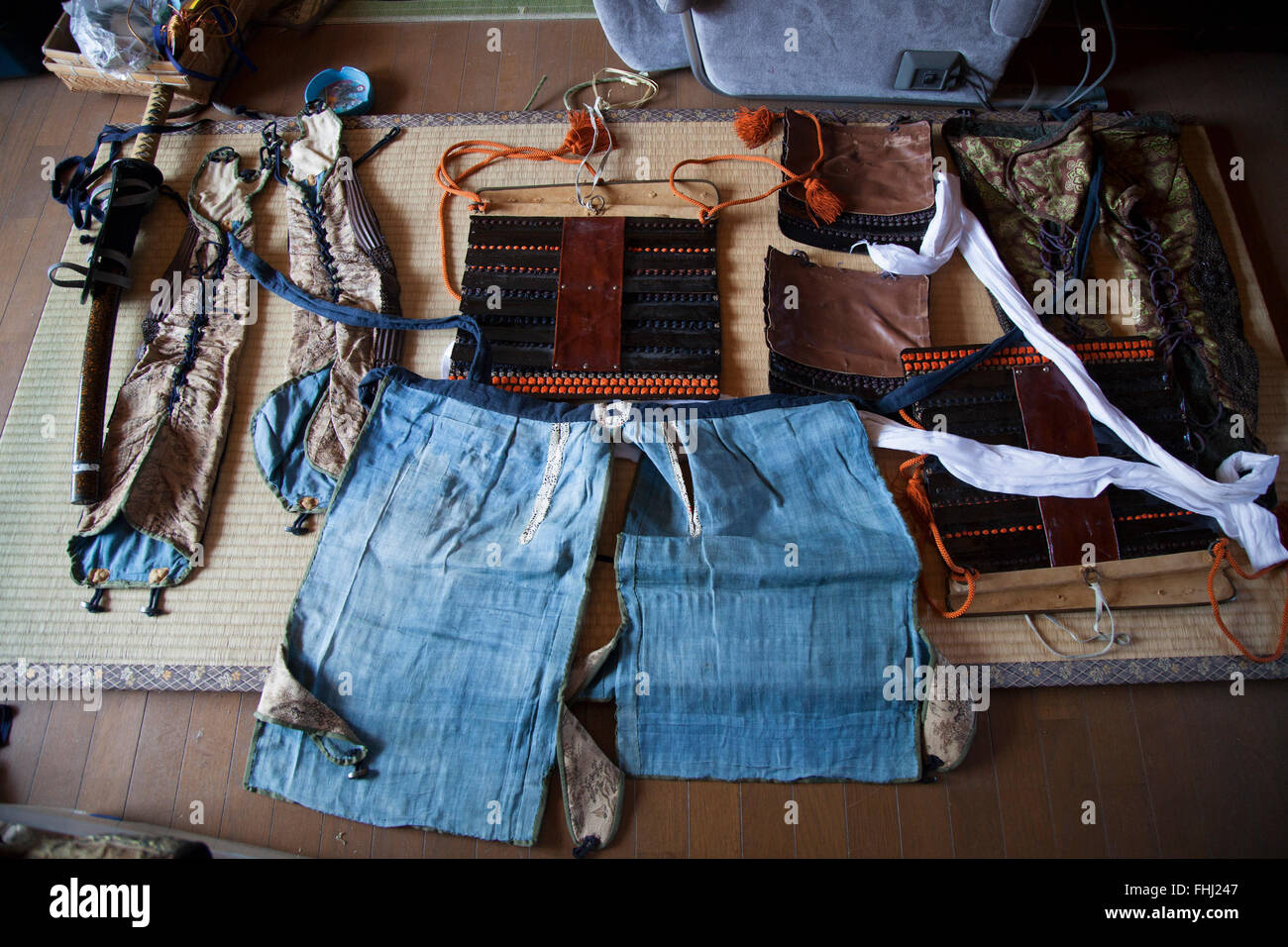 Japan / Fukushima  -  Many people lost their armor and weapons when their houses were washed away by the tsunami. - Stock Image