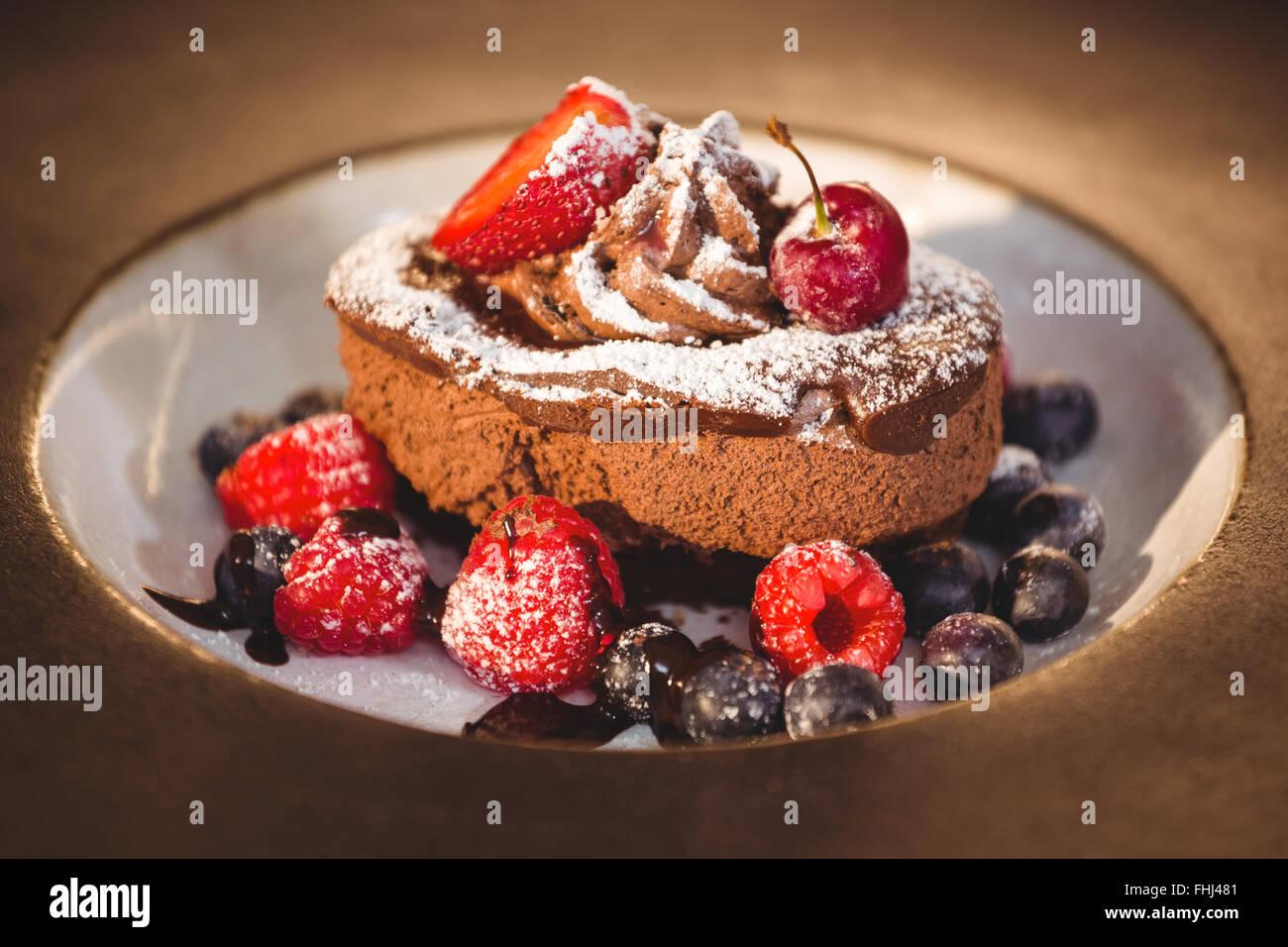 Close up of chocolate dessert - Stock Image