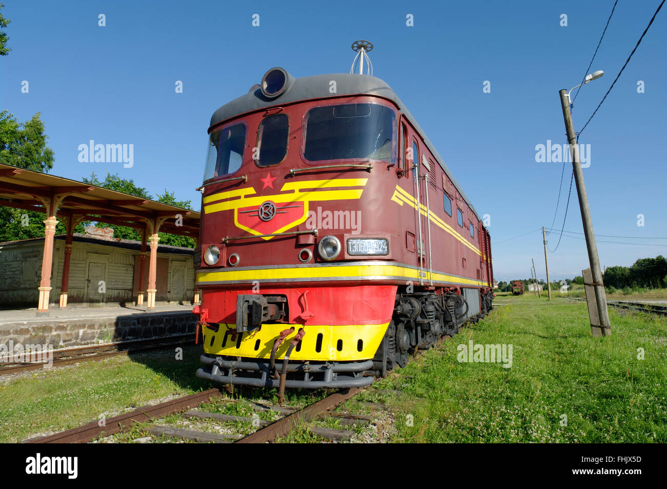 The Railway and Communications Museum exhibit in Haapsalu, the old diesel locomotive Tep 60. Haapsalu, Estonia - Stock Image