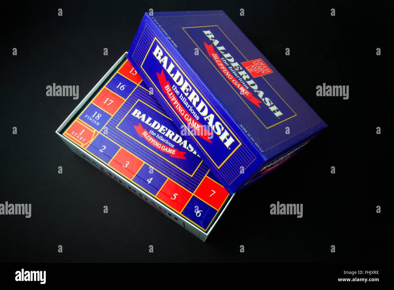 Balderdash bluffing board game on a black background Stock Photo
