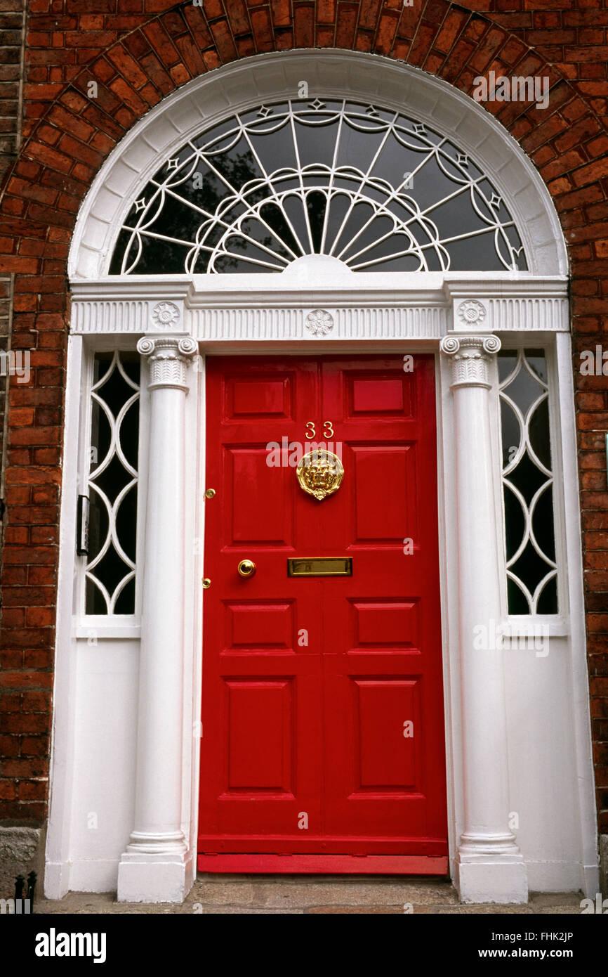 Red Georgian Front Door Stock Photos Red Georgian Front Door Stock