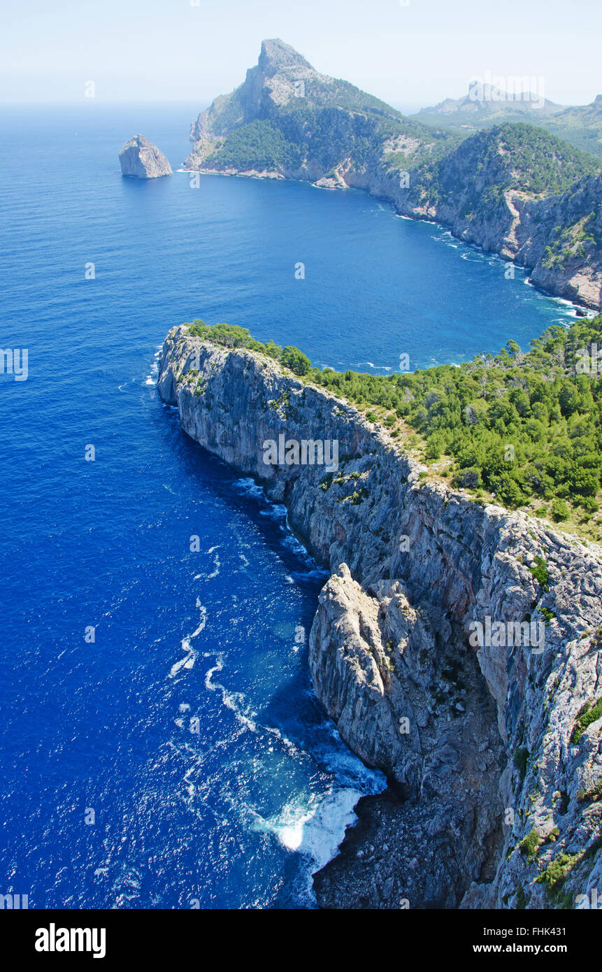Mallorca, Majorca, Balearic Islands, Spain, Europe: view of Cap de Formentor, the eastern cape of the island seen - Stock Image