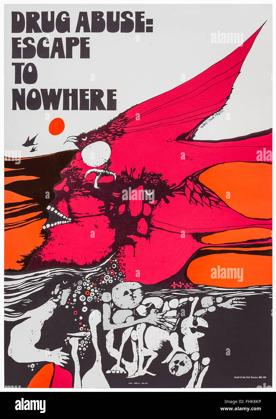 'Drug Abuse: Escape to Nowhere' US anti-drugs campaign poster 1970 designed by Michael David Brown. - Stock Image