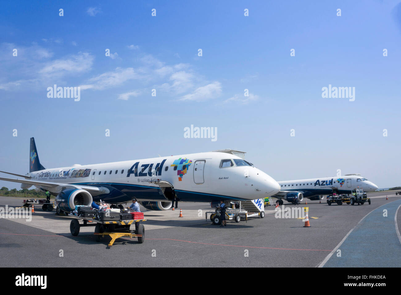 Azul Embraer jets on the runway at an airport in Brazil - Stock Image