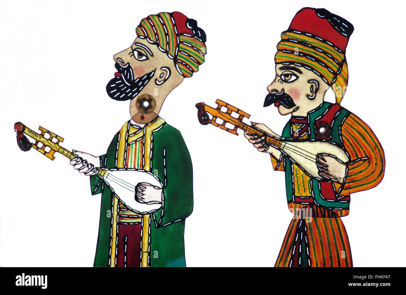 Shadow Puppets of Two Turkish Folk Musicians Playing Saz or Baglama Stringed Instruments. Characters from the Karagöz - Stock Image