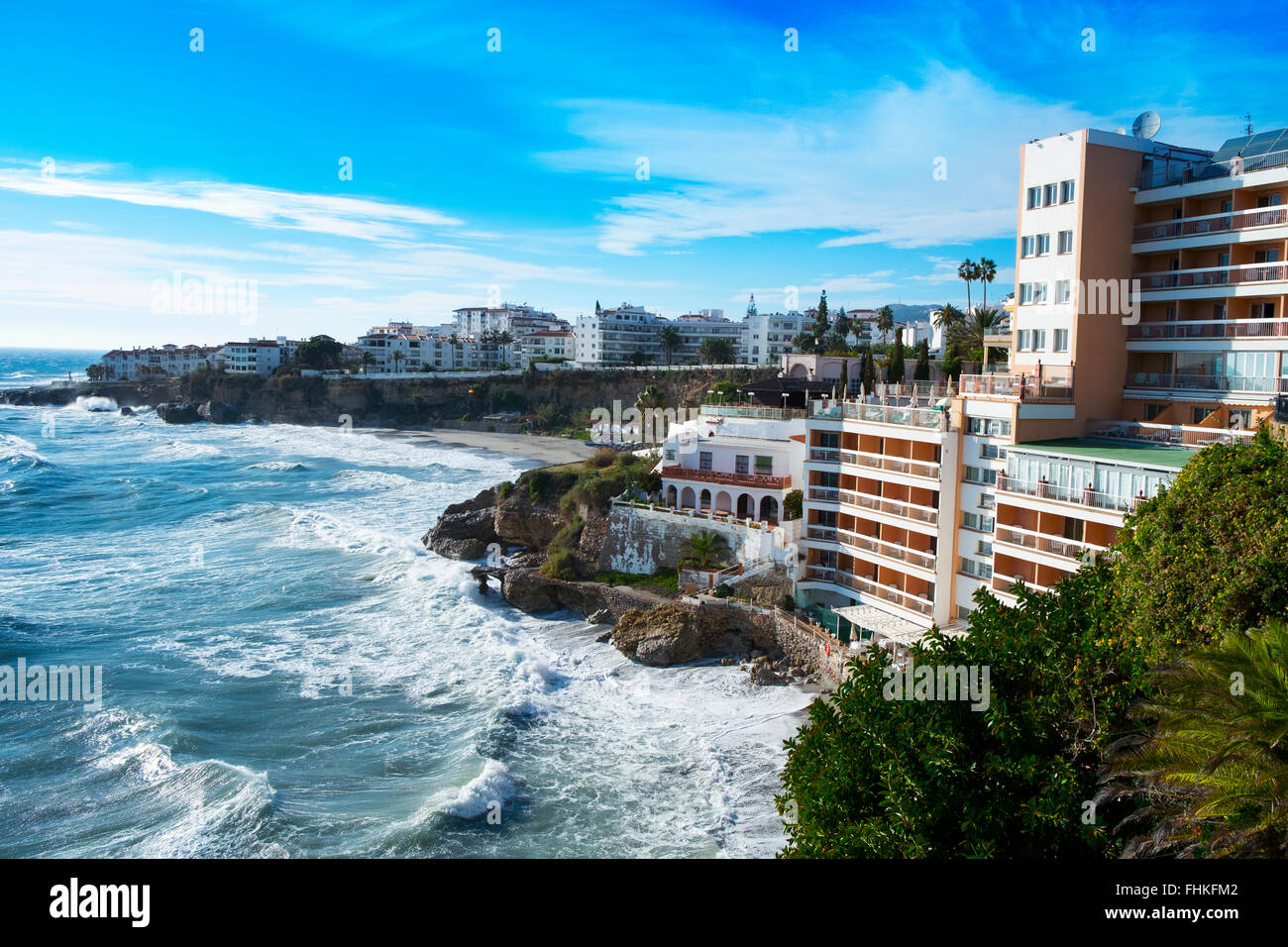 a view of the southern coast of Nerja, at the Mediterranean sea, in the Costa del Sol, Spain, with the El Salon - Stock Image