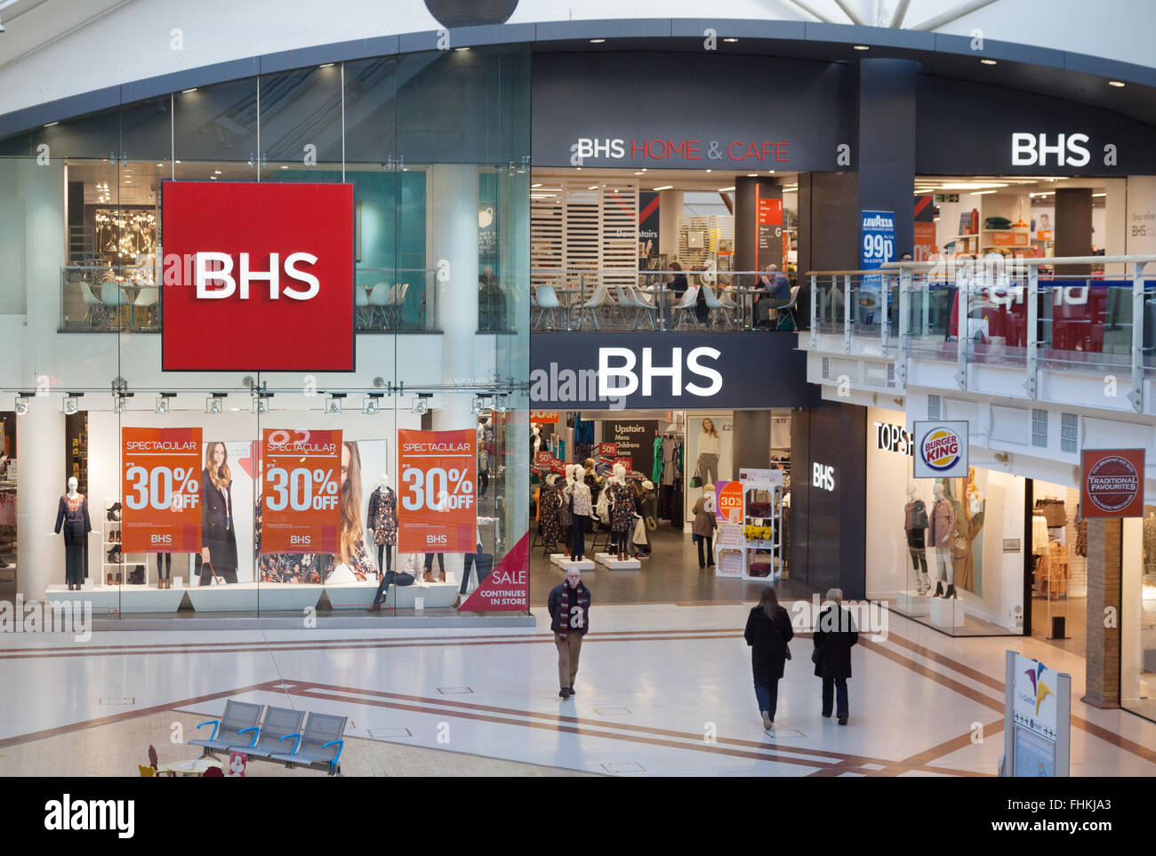 The BHS store ( British Home Stores ) department store exterior, the Grafton Centre, Cambridge UK - Stock Image