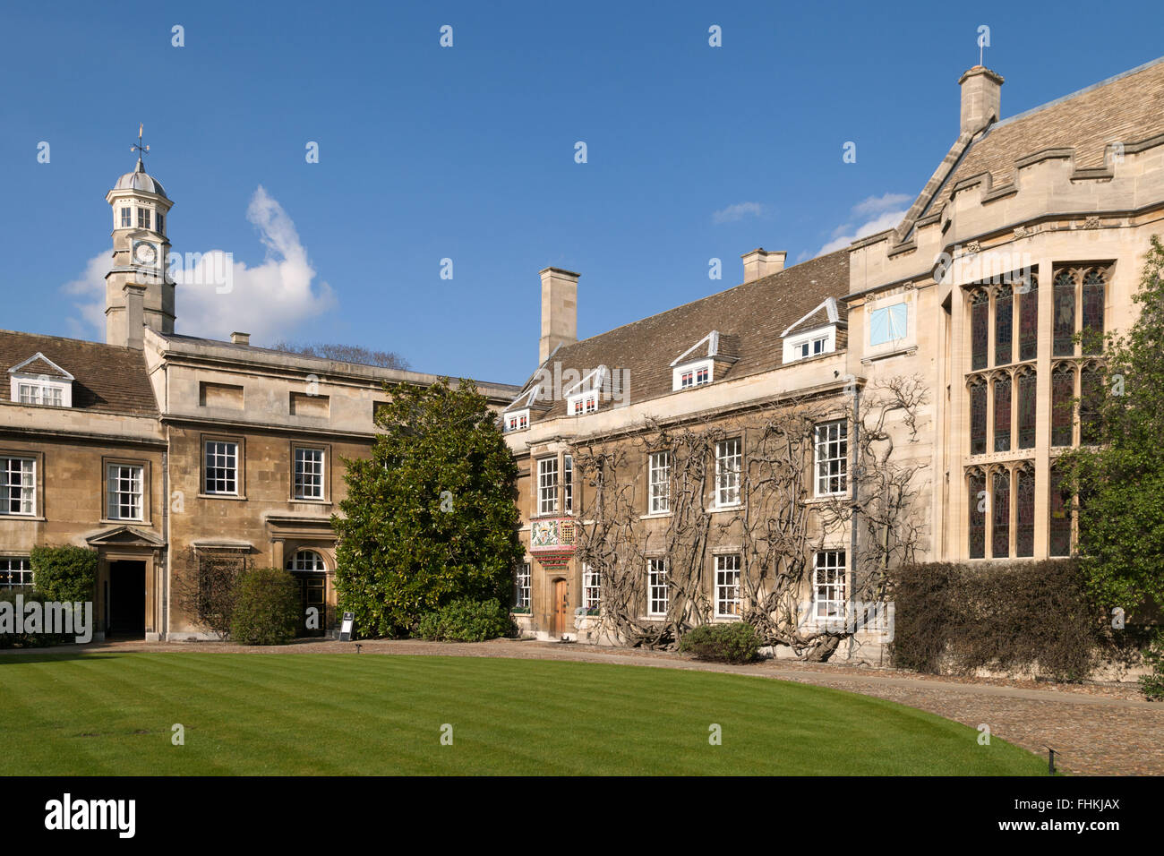 A view in the Entrance Court, Christs College Cambridge University, Cambridge UK - Stock Image