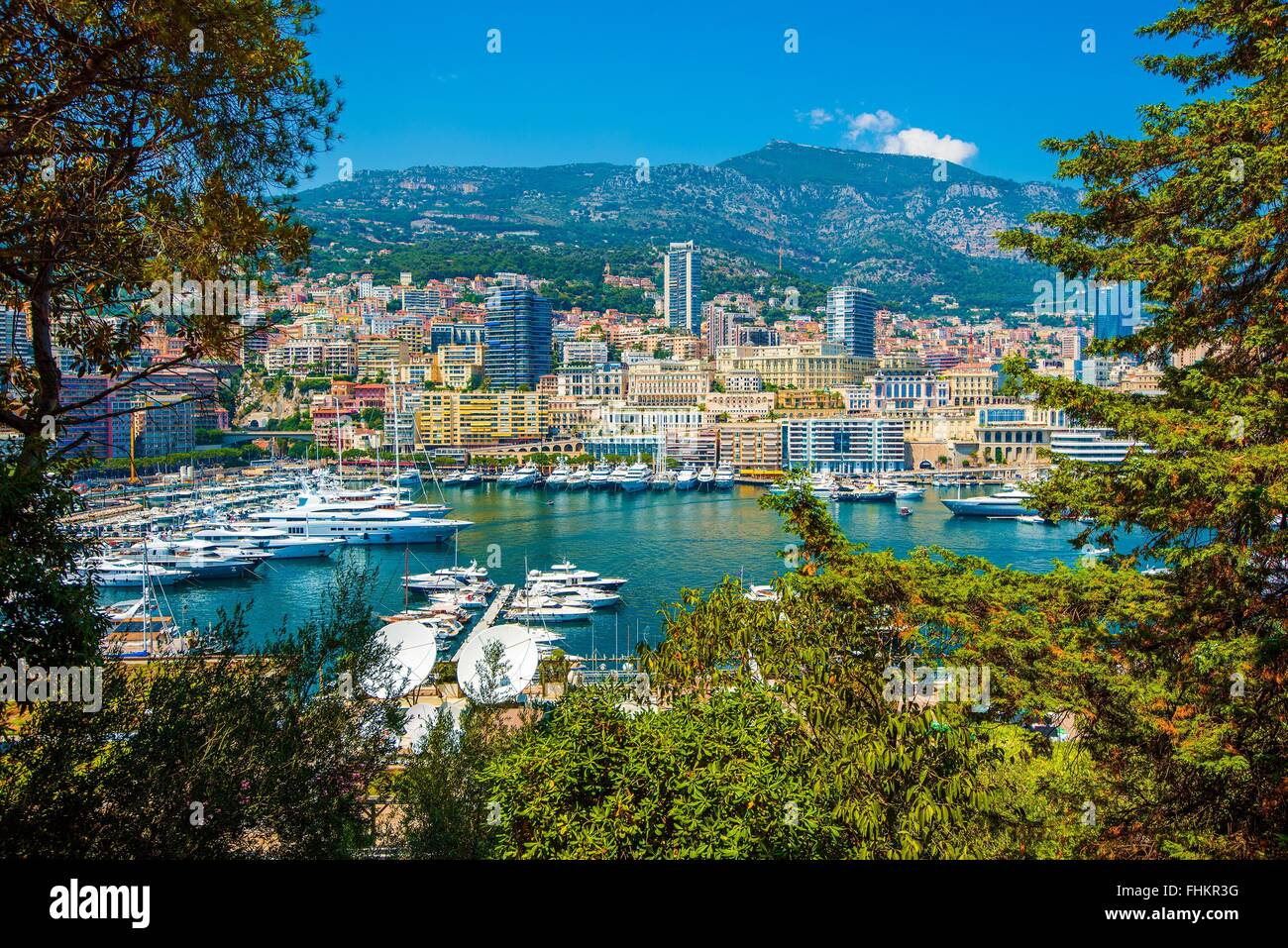 Port Hercule in the Monte Carlo, Monaco, Europe. Summer in the Monaco. - Stock Image
